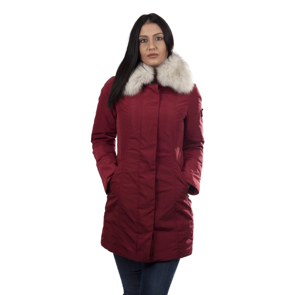 superior quality 98f0c 5abae Peuterey Giaccone Donna Metropolitan con Collo in Volpe Rosso