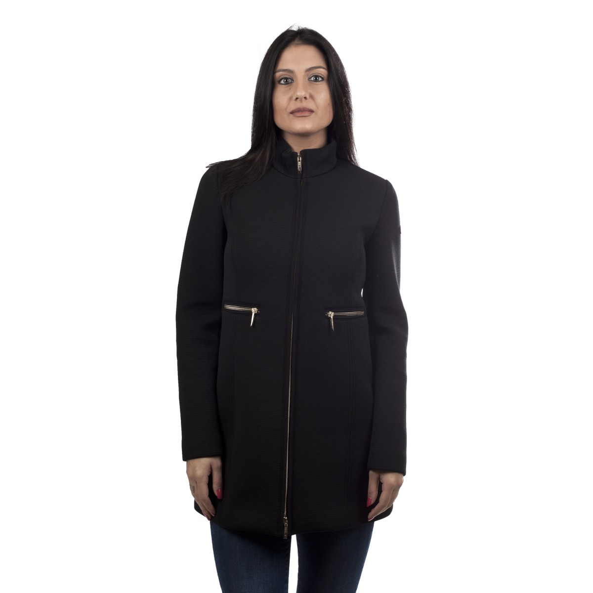 up to be cappotto in neoprene nero donna