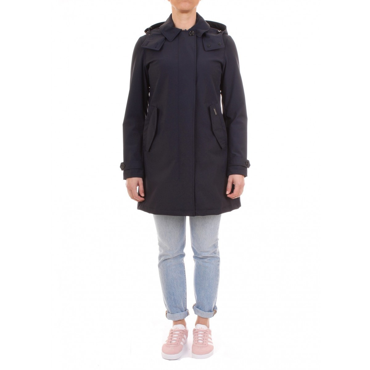 a0e7fe8c7b Woolrich Trench Donna Charlotte Coat Blu