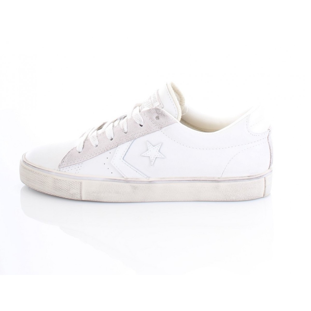 Converse All Star Pro Leather Vulc Ox Bianca logo Converse Bianco
