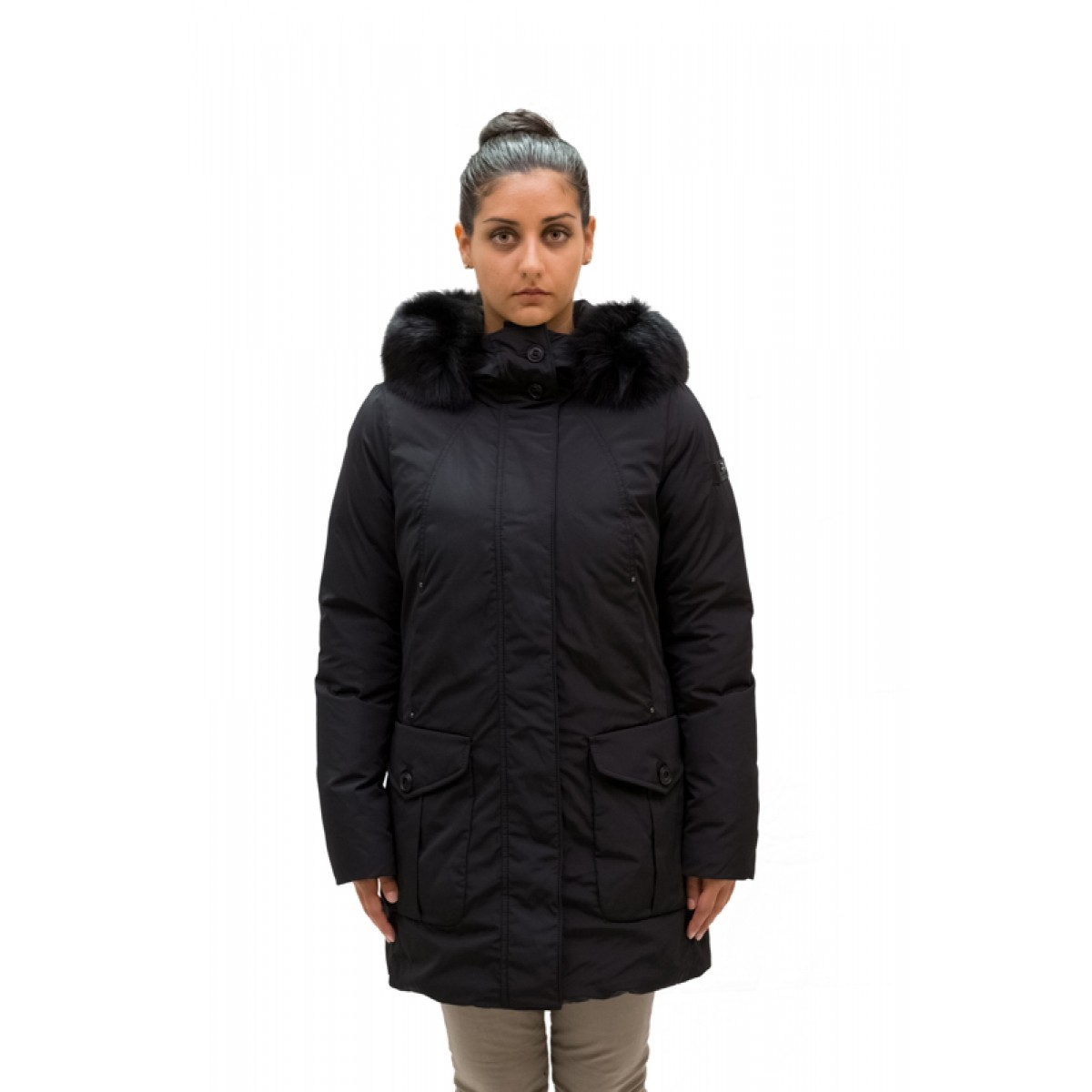 size 40 c8a47 77b66 Peuterey Giaccone Donna Regina Fur con Bordo in Volpe Nero