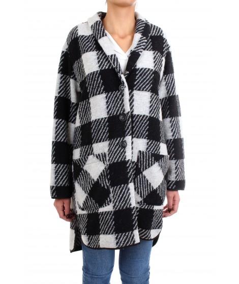 Woolrich Donna Gentry Coat Fantasia Check Bianco e Nero