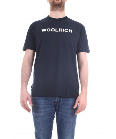 Woolrich Uomo T-shirt Logo Tee Blu