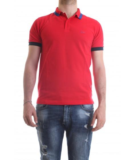 Sun68 Polo Big Stripe on Collar Rossa
