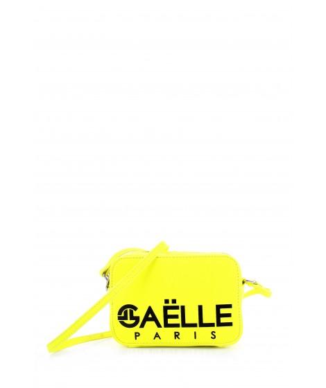 Gaelle Paris Tracolla con Maxi Logo stampato,Giallo Fluo