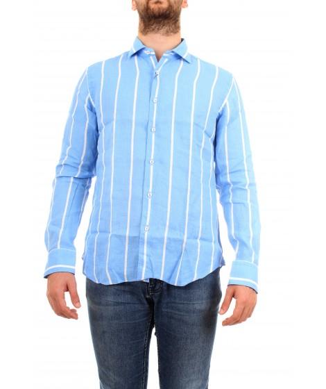 Xacus Uomo Camicia Casual&Sport  A Righe Azzurro