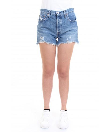 Levi's Donna Shorts con Orlo Sfrangiato 501 Original Azzurro