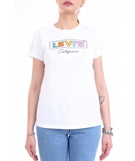 Levi's Donna T-shirt The Perfect Tee Bianco Logo Box Tab