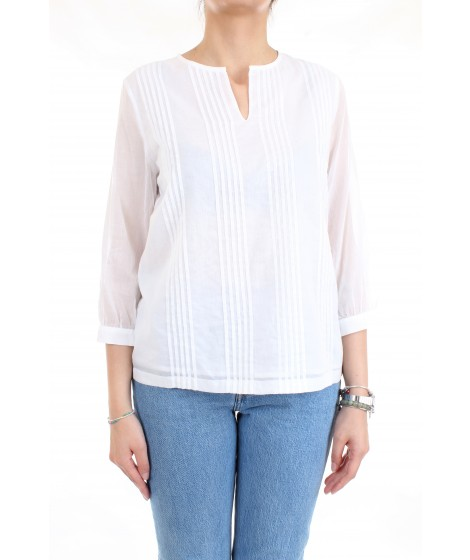 Cappellini By Peserico Camicia Scollo a V In Cotone Bianco