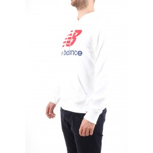 New Balance Uomo Felpa con Cappuccio Bianca