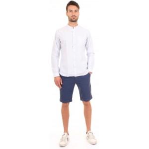 DNL Camicia Uomo Tessuto a Righe Bianche e Celesti