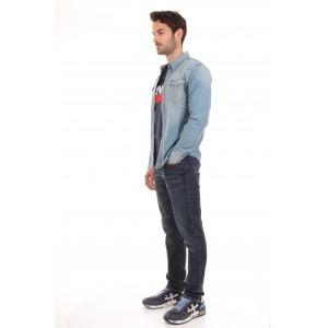 Levi's Camicia di jeans Uomo Barstow Western Lavaggio Chiaro
