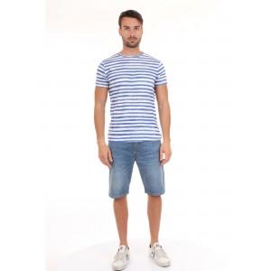 40Weft T-shirt Uomo M.C.Alvin 1702 Righe Bianche e Blu
