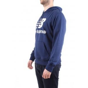 New Balance Uomo Felpa con Cappuccio Blu