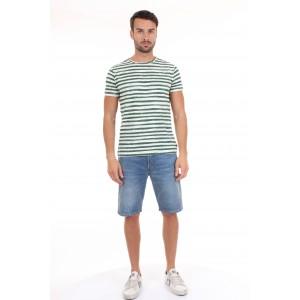 40Weft T-shirt Uomo M.C. Alvin 1702 Righe Bianche e Verdi