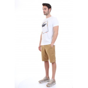 Lacoste T-shirt Uomo in Jersey con Stampa Bianca