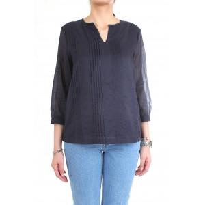 Cappellini By Peserico Camicia Scollo a V In Cotone Blu
