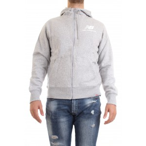 New Balance Uomo Felpa Essential Stacked Logo Hoodie Grigio