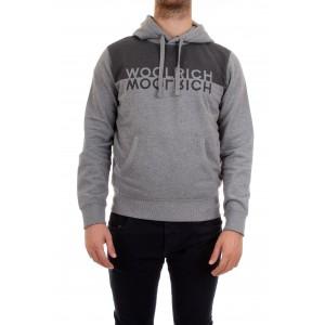 Woolrich Felpa uomo Logo Hoodie Grigia