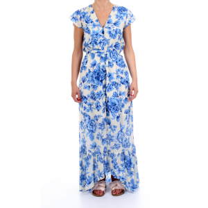 "Scee by Twinset Abito Lungo Stampa Porcellane Blu ""Navy Peony"""