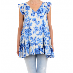 "Scee by Twinset Blusa Smanicata con Stampa Porcellane Blu ""Navy Peony"""