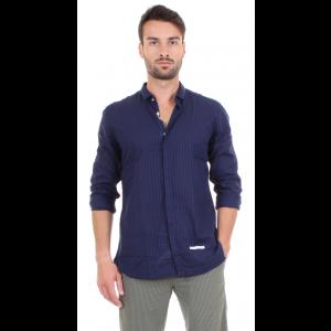 DNL Camicia Uomo Blu Effetto Righe Colletto Classico