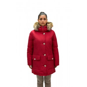 Woolrich Donna Arctic Parka Hight Collar Nero e Rosso