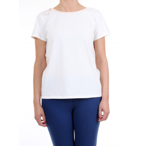 Scee by Twinset T-shirt Avorio con Dettagli in Pizzo