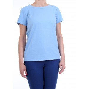 Scee by Twinset T-shirt Placid blu con Dettagli in Pizzo