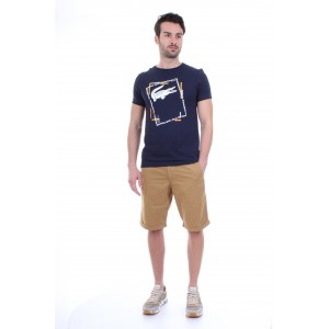 Lacoste T-shirt Uomo in Jersey con Stampa Blu