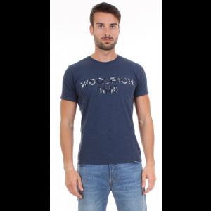 Woolrich T-shirt Uomo M.C. Stampa Logo Blu